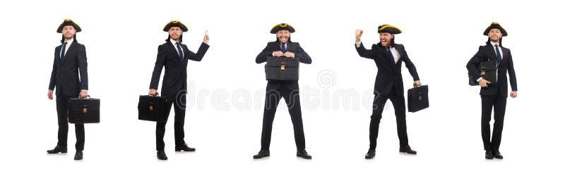 Hombre de negocios con tricorne y cartera aislada en blanco imagenes de archivo