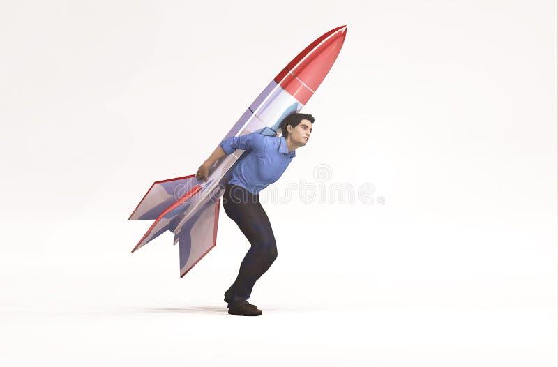 Hombre de negocios con un cohete en su listo trasero para lanzar ilustración del vector