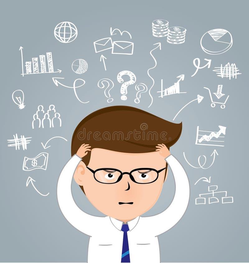 Hombre de negocios con un dolor de cabeza contra iconos dibujados mano del negocio stock de ilustración