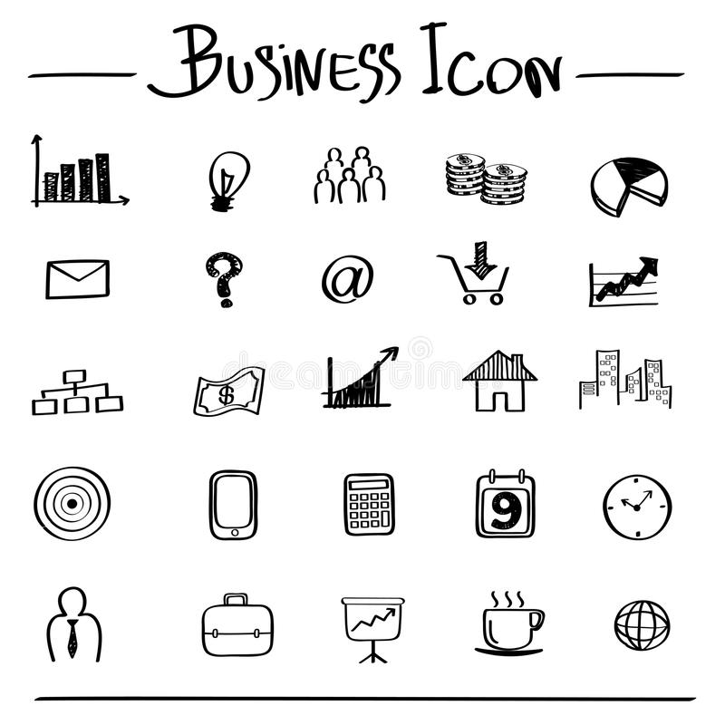 Hombre de negocios con un dolor de cabeza contra iconos dibujados mano del negocio ilustración del vector