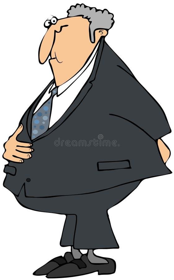 Hombre de negocios con un dolor de estómago stock de ilustración