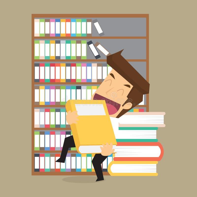 Hombre de negocios con un libro, estudios en la inversión ilustración del vector