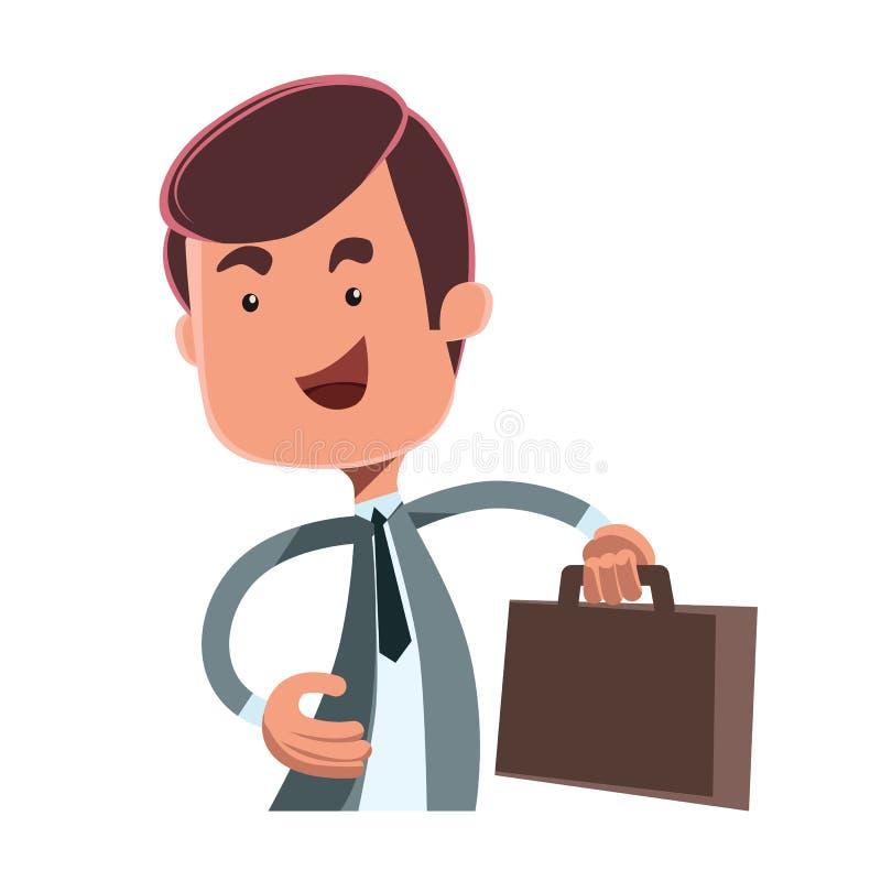Hombre de negocios con un personaje de dibujos animados del ejemplo de la maleta ilustración del vector