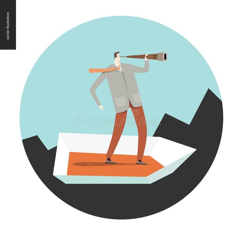 Hombre de negocios con un telescopio en barco stock de ilustración