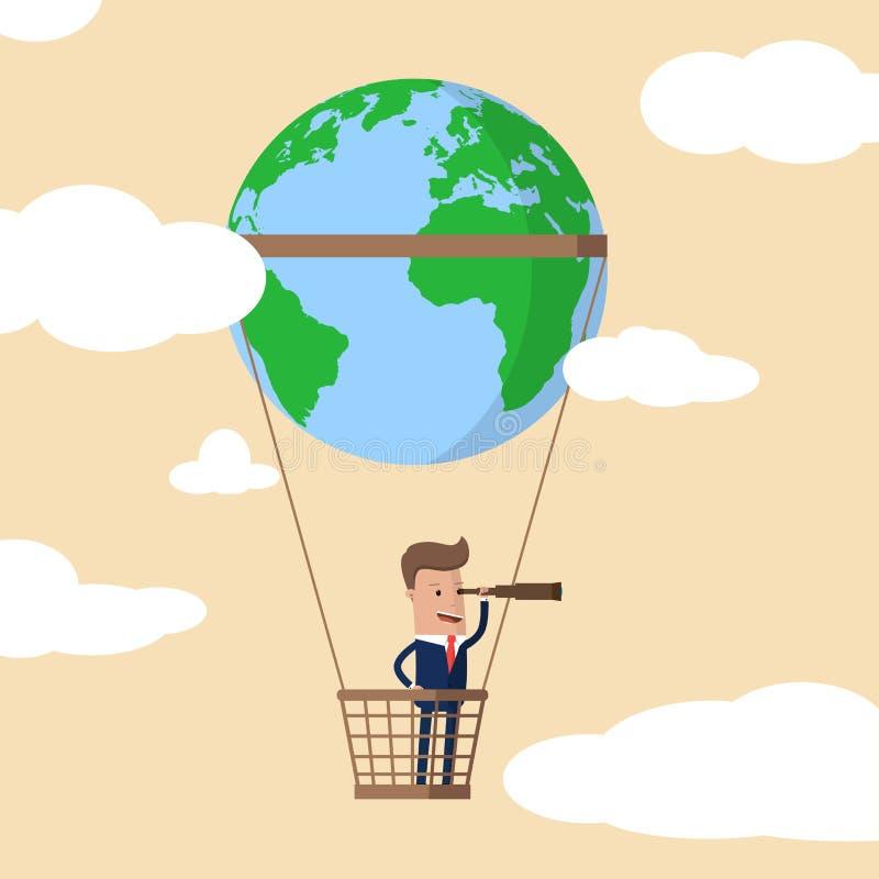 Hombre de negocios con un telescopio que mira adelante para la oportunidad en un globo del aire caliente con un globo del mundo e libre illustration