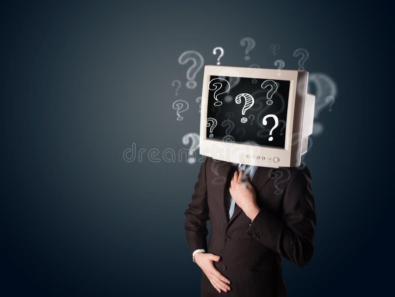 Hombre de negocios con una cabeza del monitor de computadora fotografía de archivo