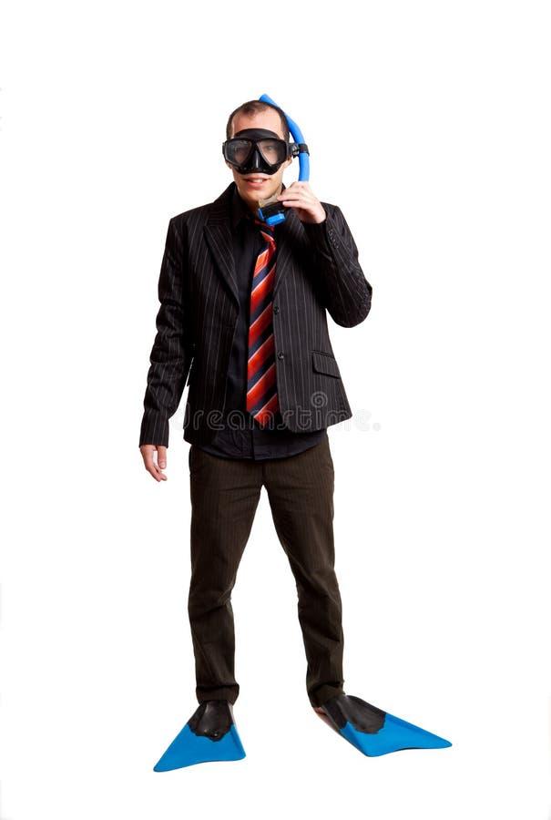 Hombre de negocios con una máscara del equipo de submarinismo imagen de archivo