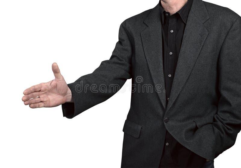 Hombre de negocios con una mano abierta foto de archivo