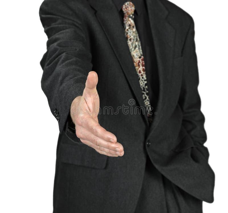 Hombre de negocios con una mano abierta lista para sellar un dea imágenes de archivo libres de regalías