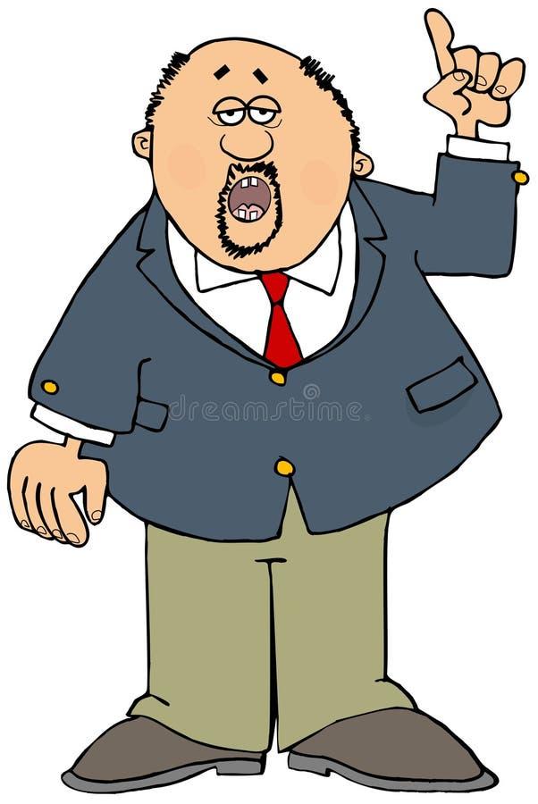 Hombre de negocios con una perilla que destaca stock de ilustración