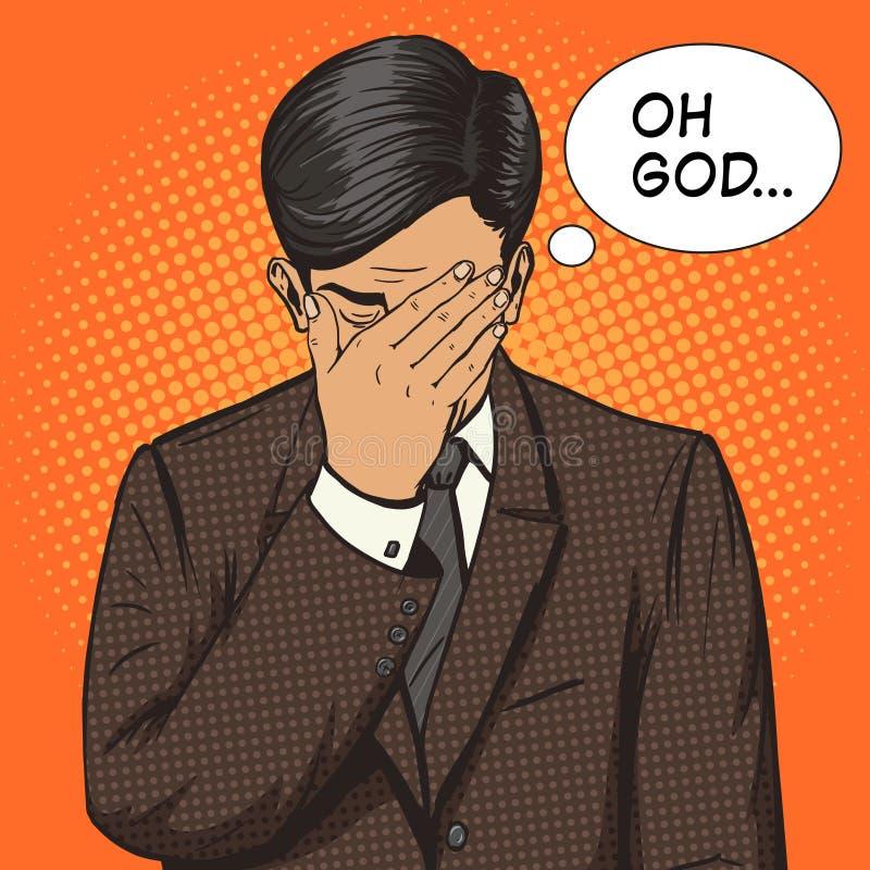 Hombre de negocios con vector del arte pop del gesto del facepalm libre illustration