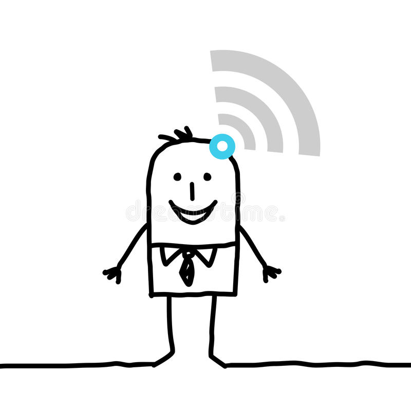 Hombre de negocios conectado historieta con las ondas stock de ilustración