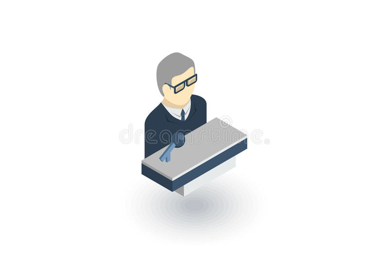 Hombre de negocios, conferencia, presentación, icono plano isométrico vector 3d ilustración del vector