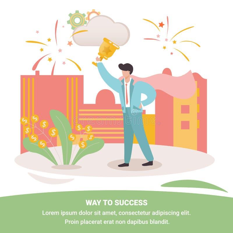 Hombre de negocios confiado alegre Holding Golden Cup ilustración del vector