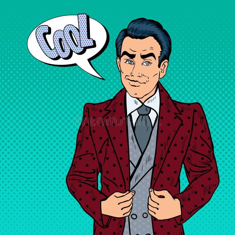 Hombre de negocios confiado hermoso Portrait Arte pop stock de ilustración