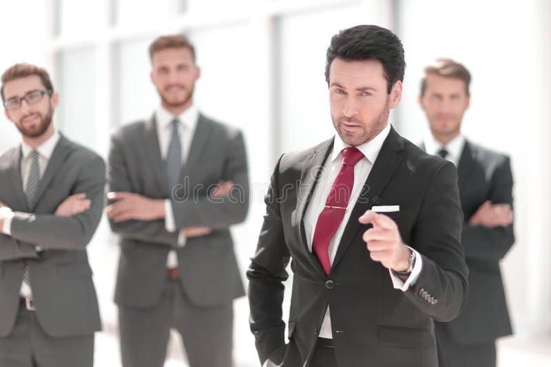 Hombre de negocios confiado Pointing At You imagen de archivo