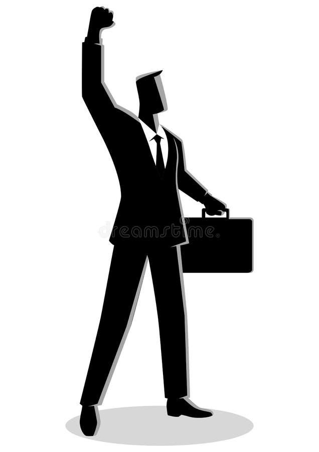 Hombre de negocios confiado que aumenta su brazo derecho ilustración del vector