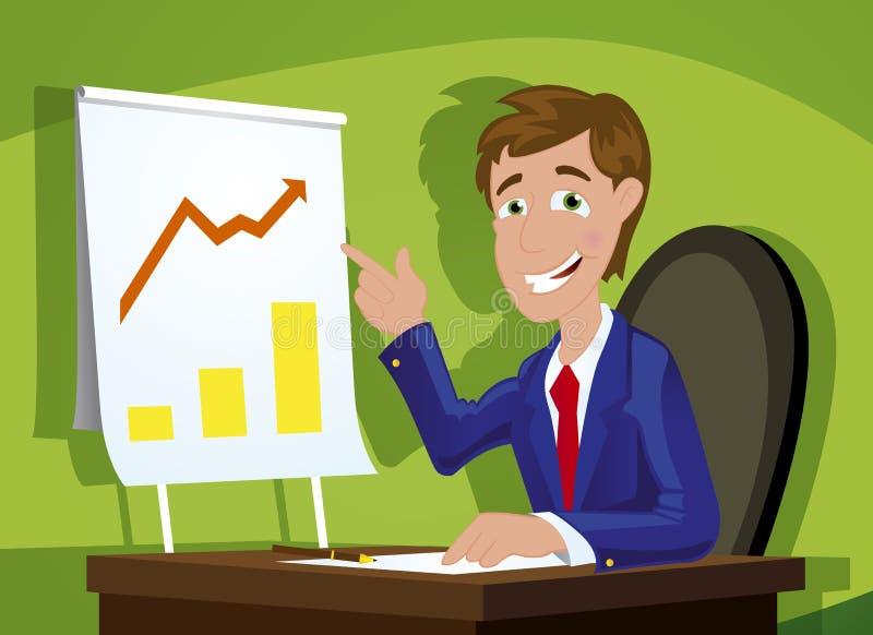 Hombre de negocios confidente joven en la oficina ilustración del vector