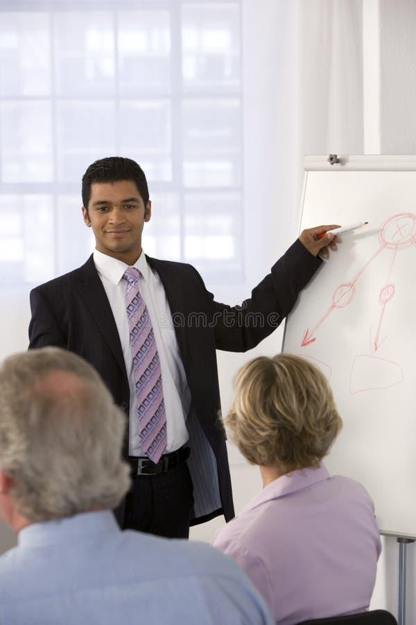 Hombre de negocios confidente que da la presentación. imagen de archivo