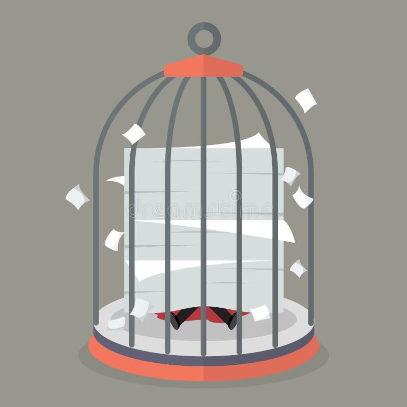Hombre de negocios conforme a muchos documentos en jaula de pájaros libre illustration
