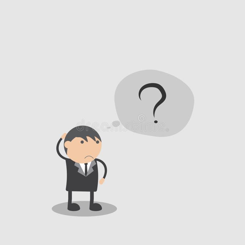 Hombre de negocios confundido Concepto del extracto del personaje de dibujos animados del ejemplo del vector del garabato fotografía de archivo libre de regalías