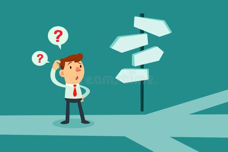 Hombre de negocios confundido por las señales de dirección libre illustration
