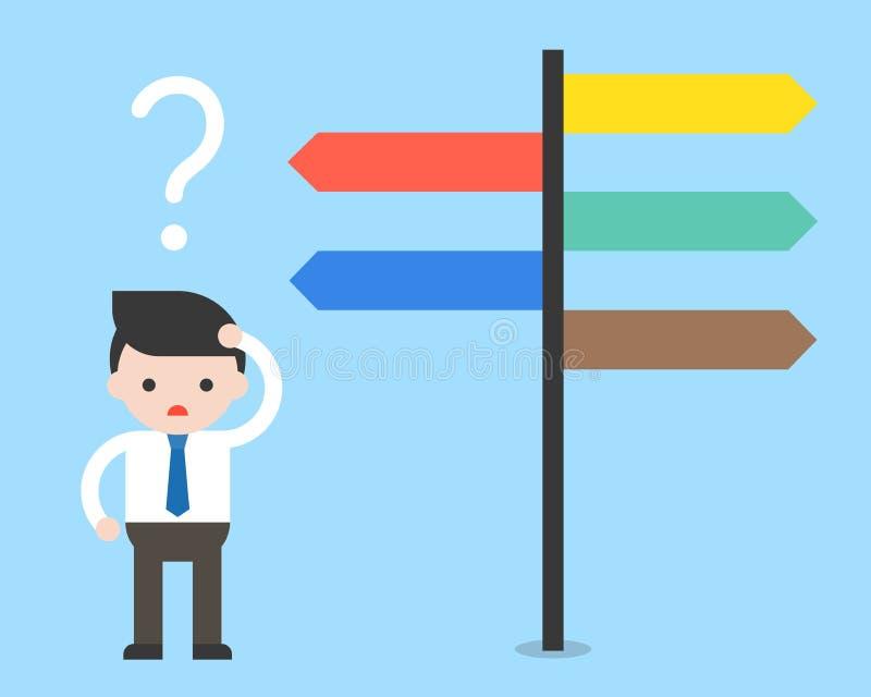 Hombre de negocios confundido por las señales de dirección Opciones y decisión co ilustración del vector