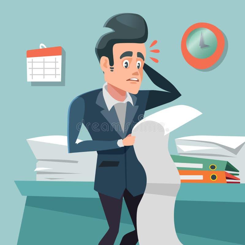 Hombre de negocios confuso con de largo para hacer la lista en horas extras en el trabajo stock de ilustración