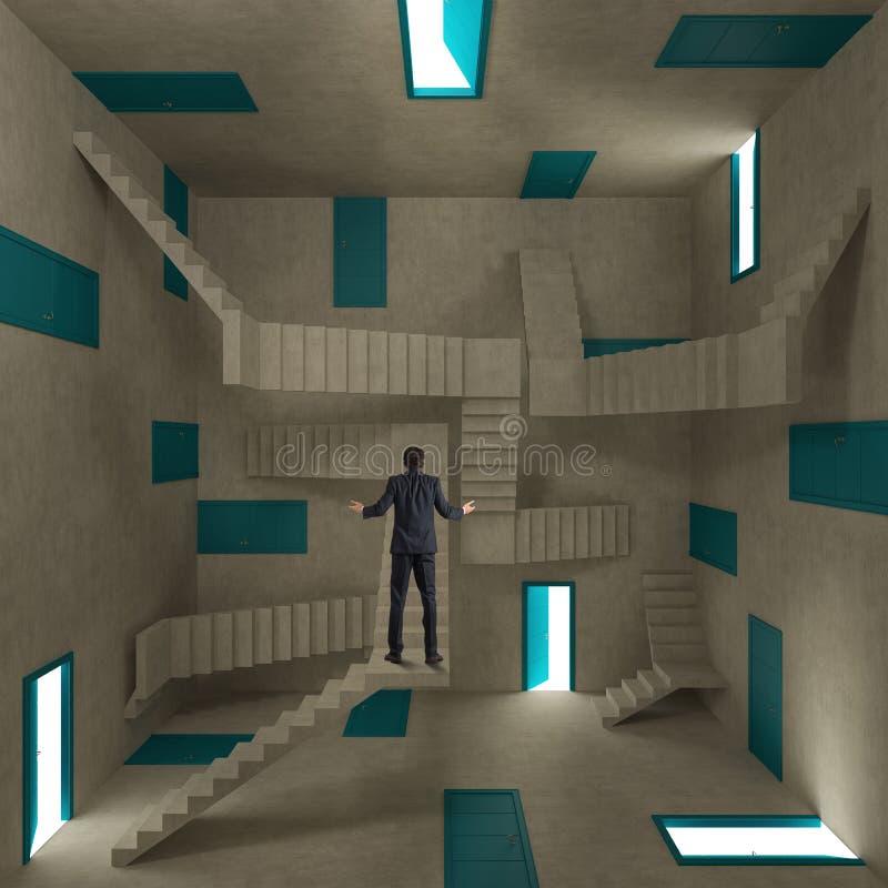 Hombre de negocios confuso en un cuarto por completo de puertas y de escaleras ilustración del vector
