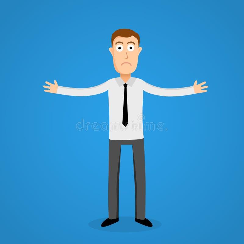 Hombre de negocios confuso Persona estilística de la historieta libre illustration