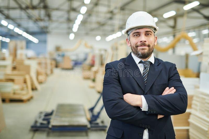 Hombre de negocios contento en el casco de protección en la fábrica imagen de archivo