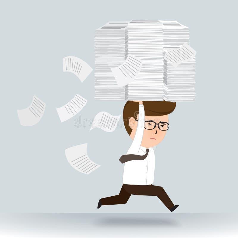 Hombre de negocios corrido a través en la pila de papel ilustración del vector