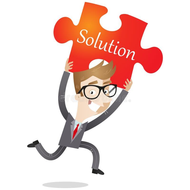 Hombre de negocios corriente con el pedazo rojo del rompecabezas libre illustration