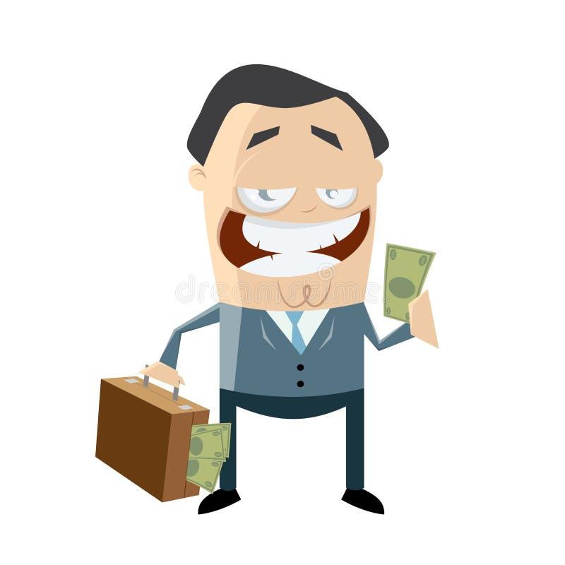 Hombre de negocios corrupto con el dinero en su bolso ilustración del vector
