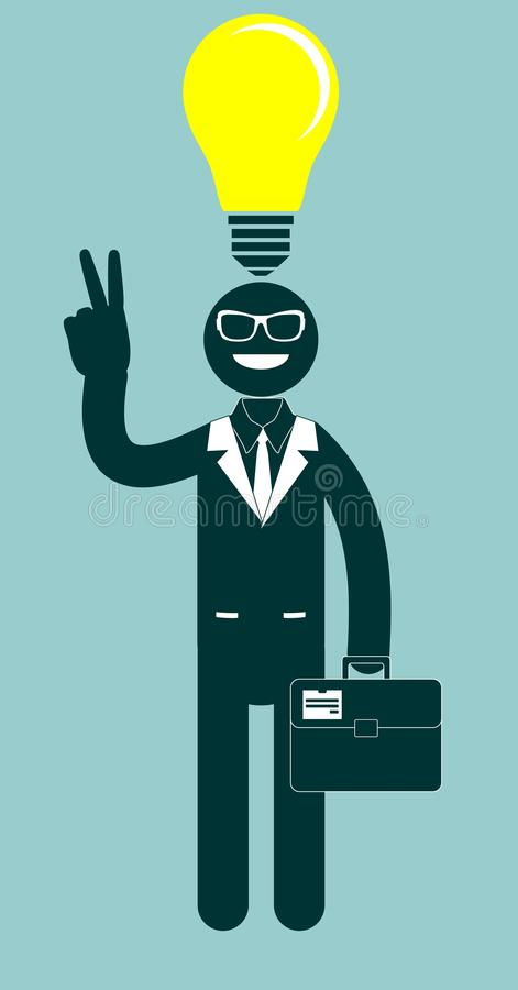 Hombre de negocios creativo que señala en la bombilla como a stock de ilustración