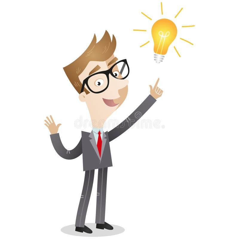 Hombre de negocios creativo que tiene una idea ilustración del vector