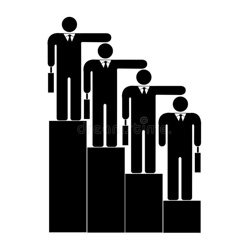 Hombre de negocios cuatro en las escaleras de la jerarquía ilustración del vector