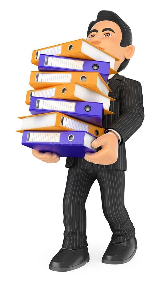hombre de negocios 3D cargado con muchos cabinetes de archivo Sobrecarga del trabajo ilustración del vector