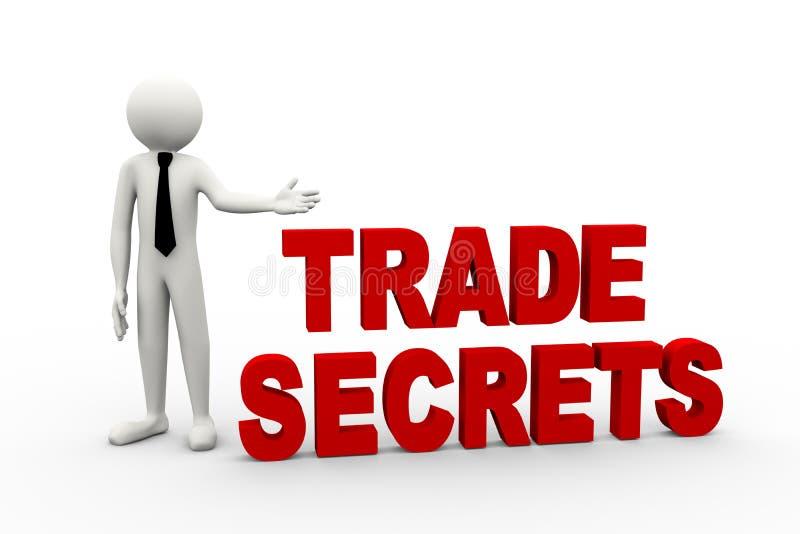 hombre de negocios 3d con el secreto comercial de la palabra stock de ilustración