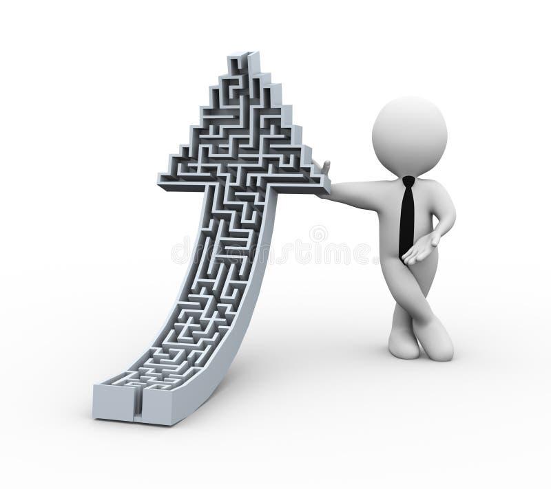 hombre de negocios 3d con rompecabezas ascendente de levantamiento del laberinto de la forma de la flecha libre illustration