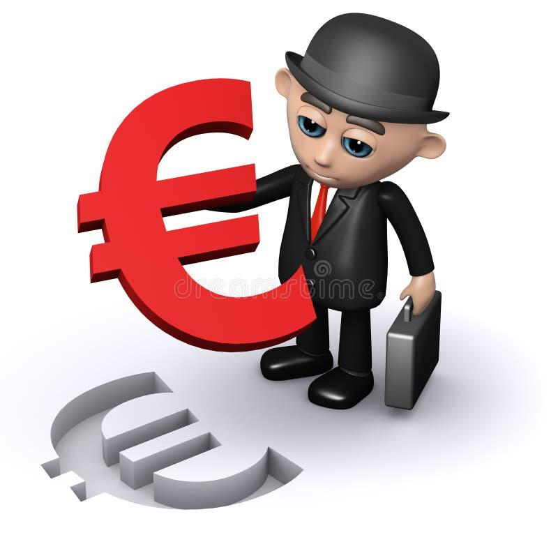 hombre de negocios 3d con un rompecabezas euro del símbolo libre illustration