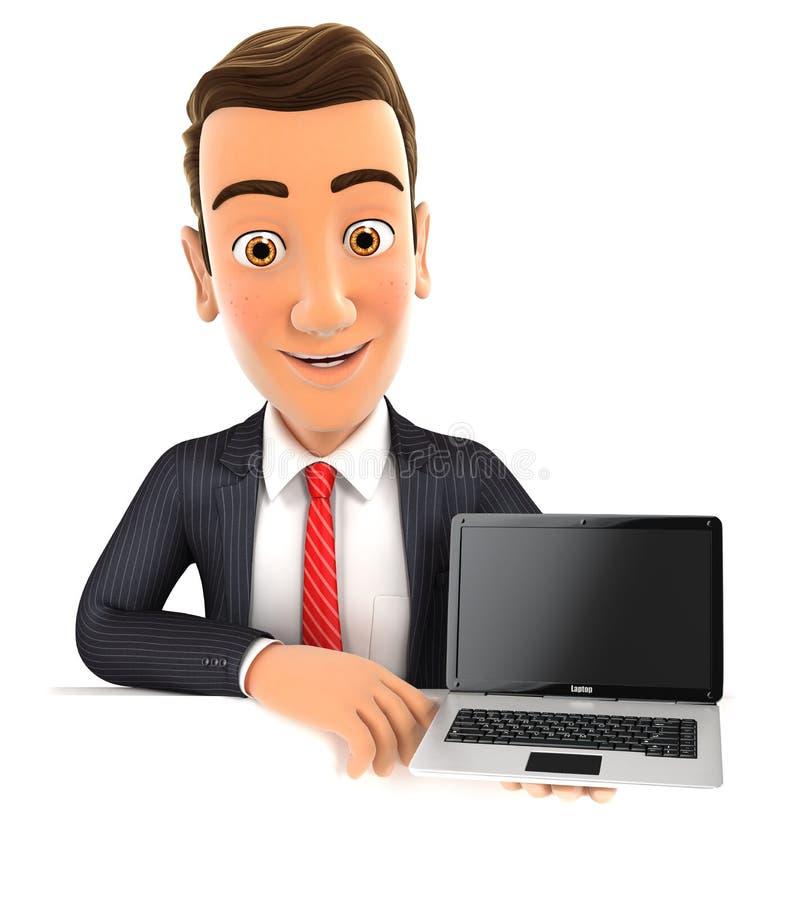 hombre de negocios 3d detrás de la pared que sostiene el ordenador portátil ilustración del vector