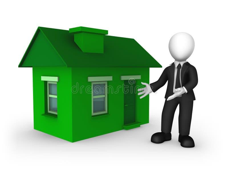 hombre de negocios 3d en la habitación negra y la casa verde ilustración del vector