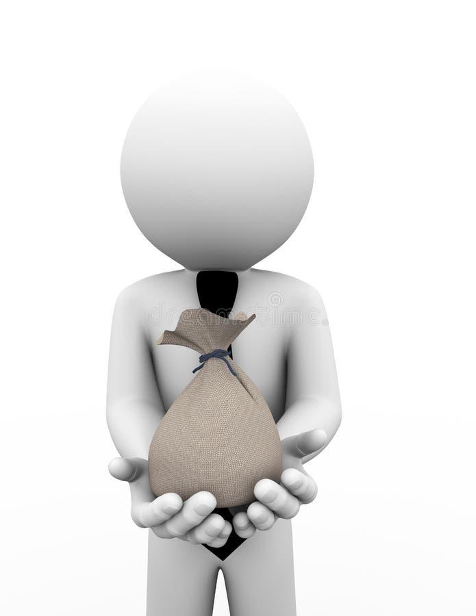 hombre de negocios 3d que celebra el ejemplo del bolso ilustración del vector