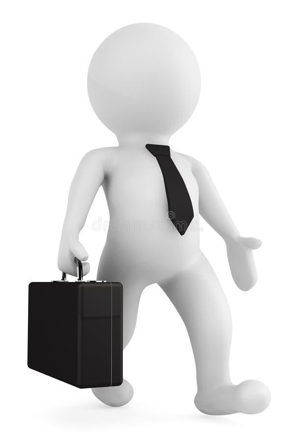hombre de negocios 3d que corre con una cartera en su mano ilustración del vector