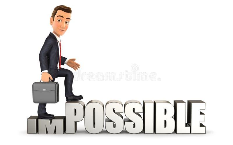 hombre de negocios 3d que da vuelta imposible en posible libre illustration