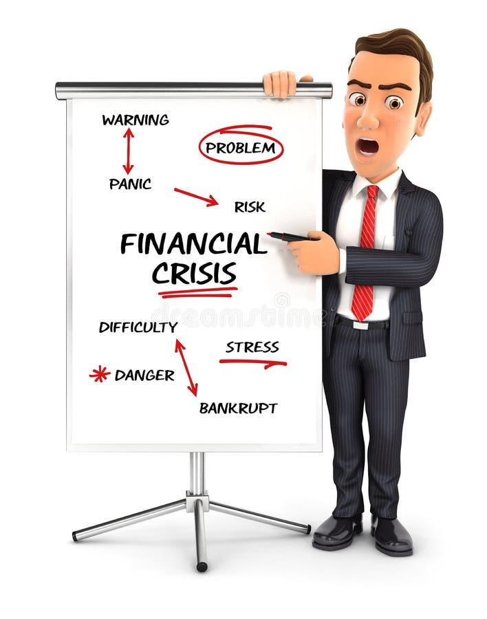 hombre de negocios 3d que escribe crisis financiera en el cartón stock de ilustración