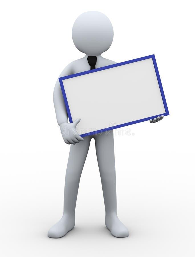 hombre de negocios 3d que lleva a cabo al tablero en blanco ilustración del vector