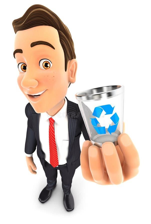 hombre de negocios 3d que lleva a cabo el icono del bote de basura libre illustration