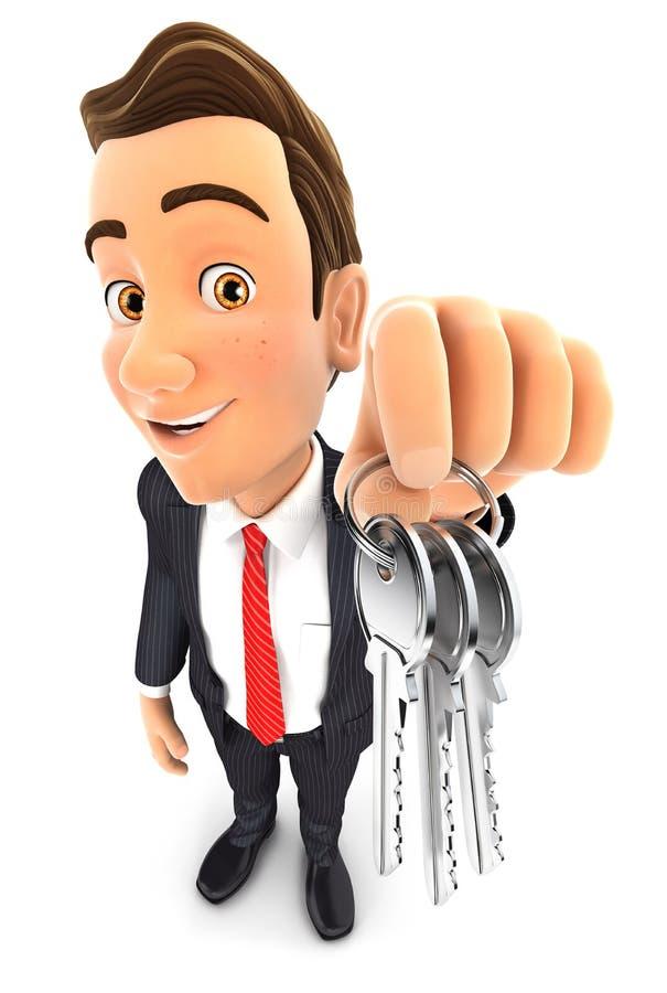 hombre de negocios 3d que lleva a cabo un manojo de llaves stock de ilustración